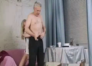 Granddad licks his granddaughter's shaved snatch