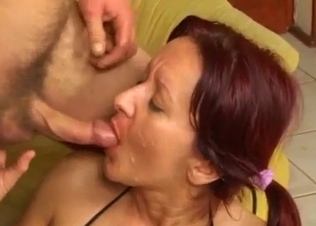 Sexy sister eats my sperm after anal banging