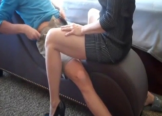 Redhead mom is sitting on my naked dick