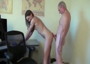 Slender young hie rides on her grandpa's dick