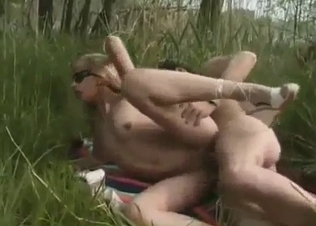 Cousing gives my daddy a blowjob in the forest